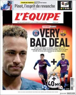 El PSG rechazó una oferta del Barça. (L'Equipe)