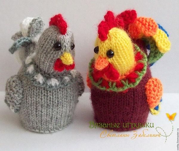 Rooster och kyckling stickad stickning