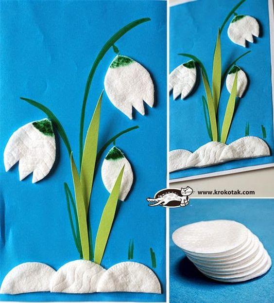 Hoa từ đĩa bông tự làm