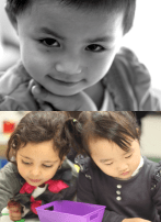 Two photos of young kids smiling and drawing