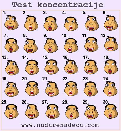 Test koncentracije za decu - 1. zadatak - lica