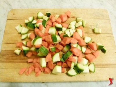 carote e zucchine a dadini
