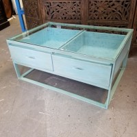 Glass Top Coffee Table with Drawers - Nadeau Charlotte