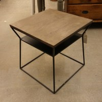 Iron and Wood End Table - Nadeau Charlotte