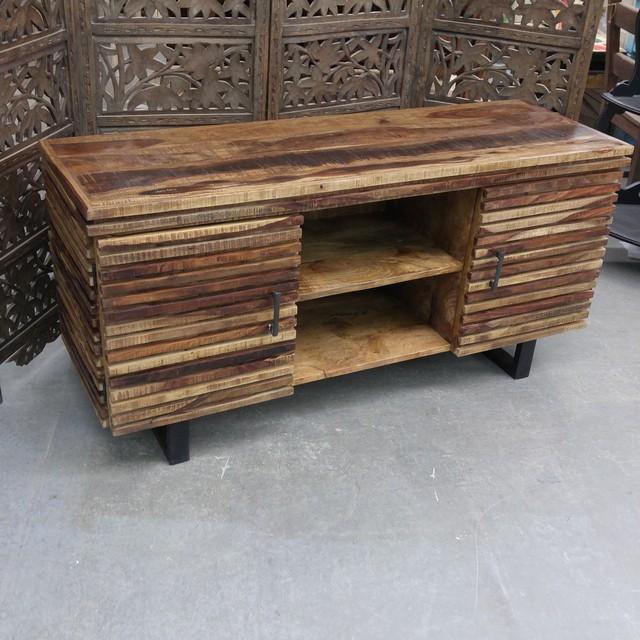 Iron and Wood Plasma TV Stand