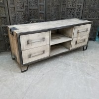 Iron And Wood Tv Stand - Nadeau Charlotte