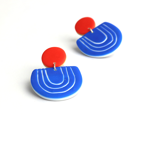graphic clay earrings by nadege honey