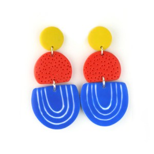 funky earrings in polymer clay