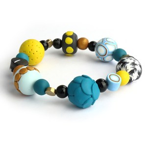 mustard and teal clay bracelet