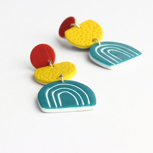Funky polymer clay earrings nadege honey