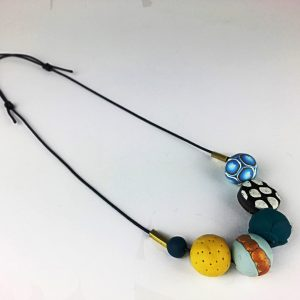 Colourful clay necklace by Nadege Honey