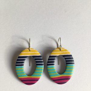 funky stripe clay earrings by nadege honey