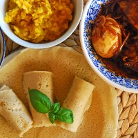 Ethiopian meal with injera