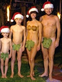 Naked Christmas family