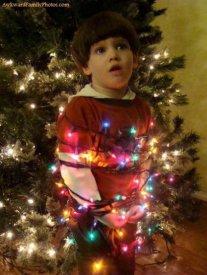 Tied up Christmas kid