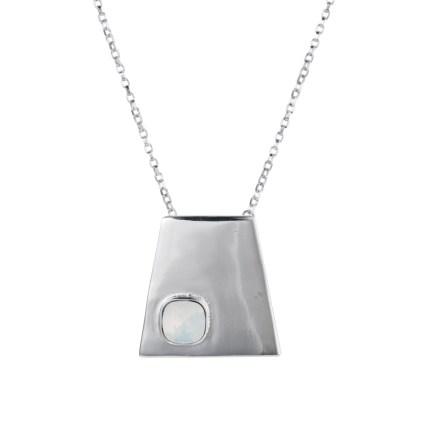Geo pendant silver/Opal white