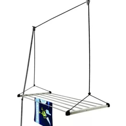 Stainless Steel Rust Proof Ceiling Clothes Hanger with UV Protected Nylon Rope, 6 Pipe, 4ft, Blue