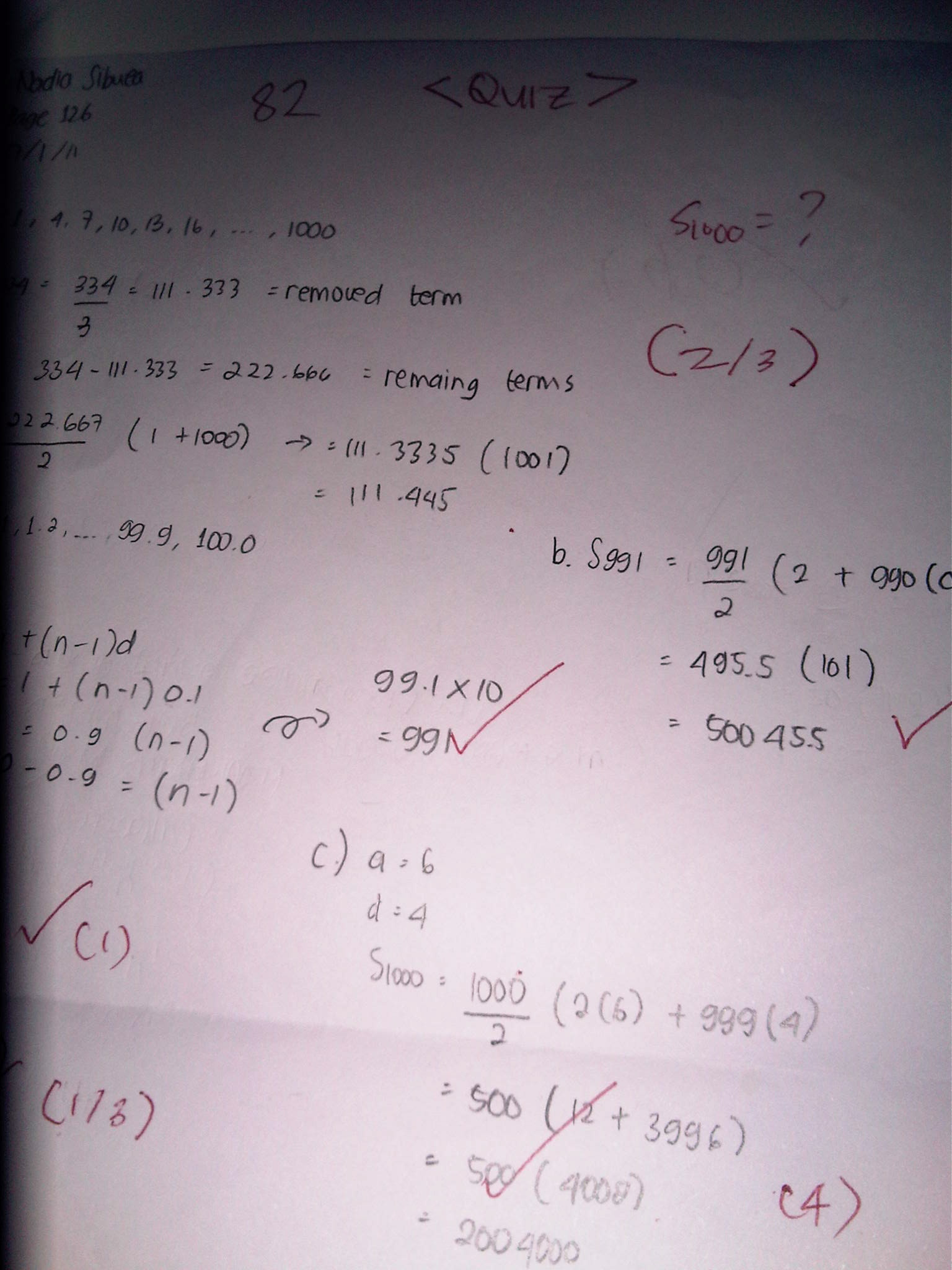 Arithmetic And Geometric Sequence Quiz