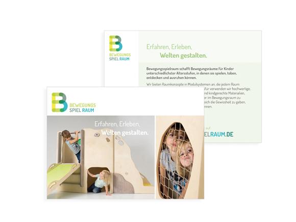Corporate Design- Möbel - Kindergarten - Bewegungsspielraum - Flyer - Broschüre