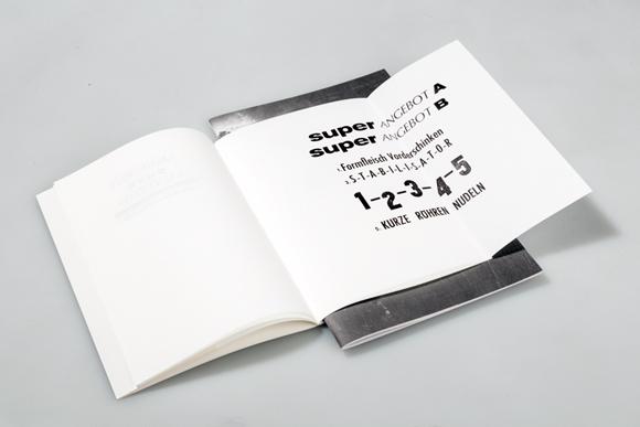 Editorial Design - Fadenheftung - Bleisatz - ausgeklappt - Formfleischvorderschinken
