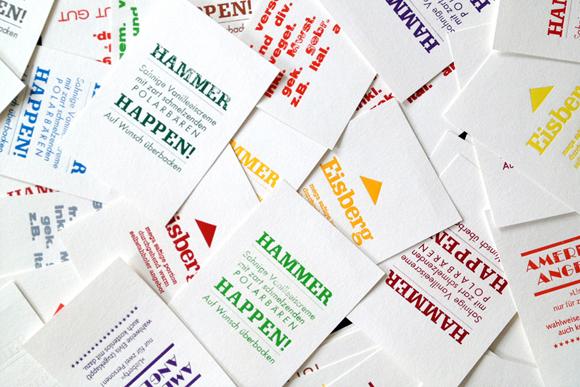 Postkarten Heissfolienprägung Typografie Formfleischvorderschinken bunt