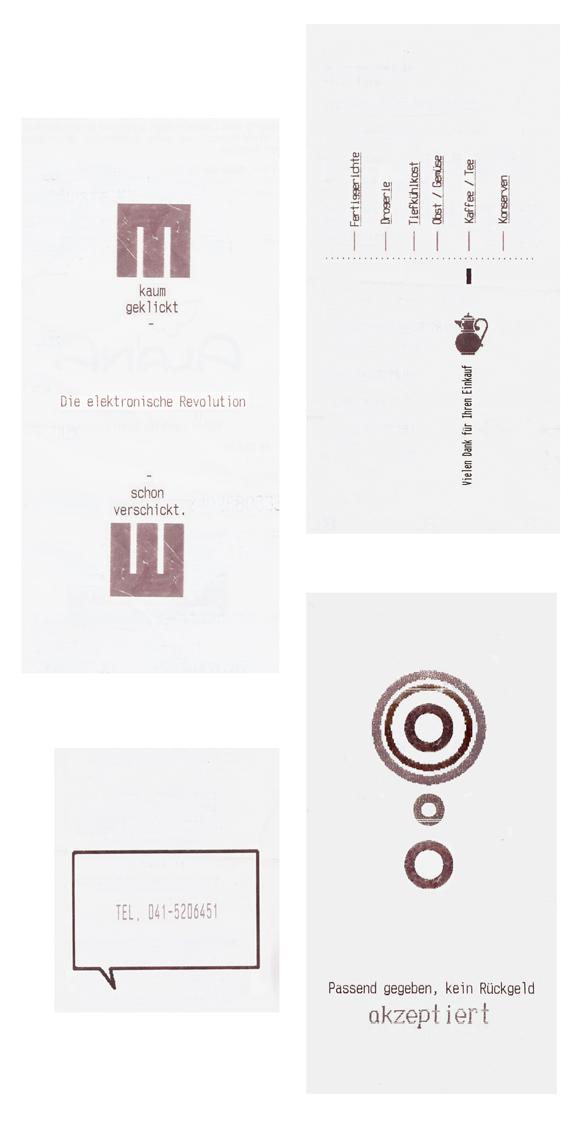 konkrete Poesie - Typografie - Kunst - Rechnungen - Quittungen - Schrift - Lastschrift - Barcode