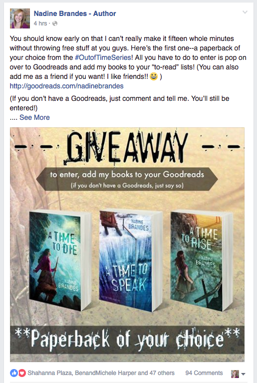 Facebook party Book Release Goodreads