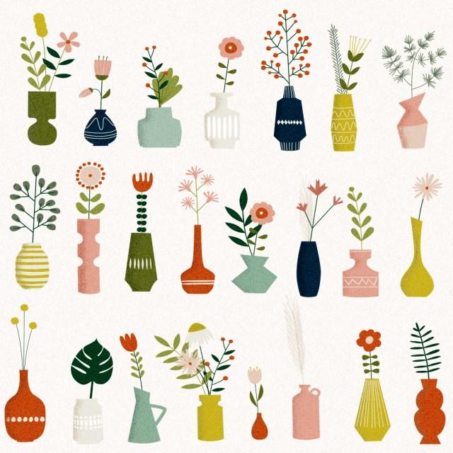 Mid Century Flowers & Vases
