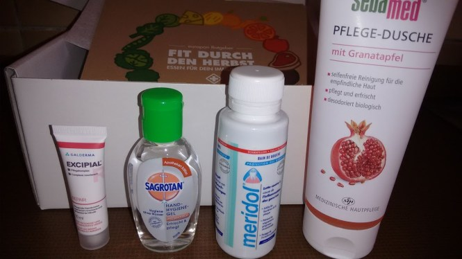 1x Excipal 10ml (Probe) 1x Sagrotan Hand Hygiene Gel 50g (Apotheken Edition) 1x Meridol 100ml (Reisegrösse) 1x Sebamed Pflegedusche 250ml