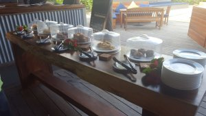 Breakfast station with sweets at blue lagoon, fiji