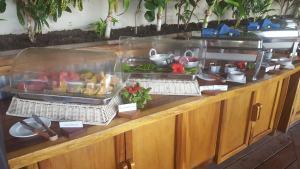 breakfast station with bread at blue lagoon, fiji