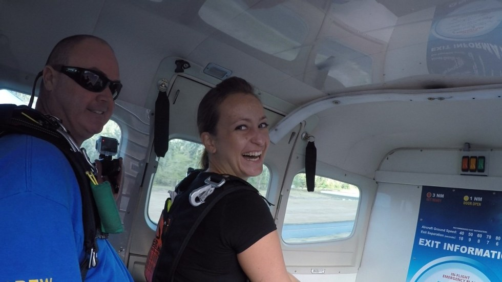 In the air plane before the skydive