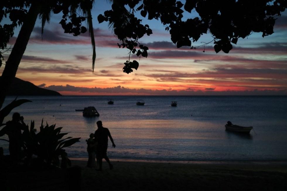 Beautiful sunset at blue lagoon resort
