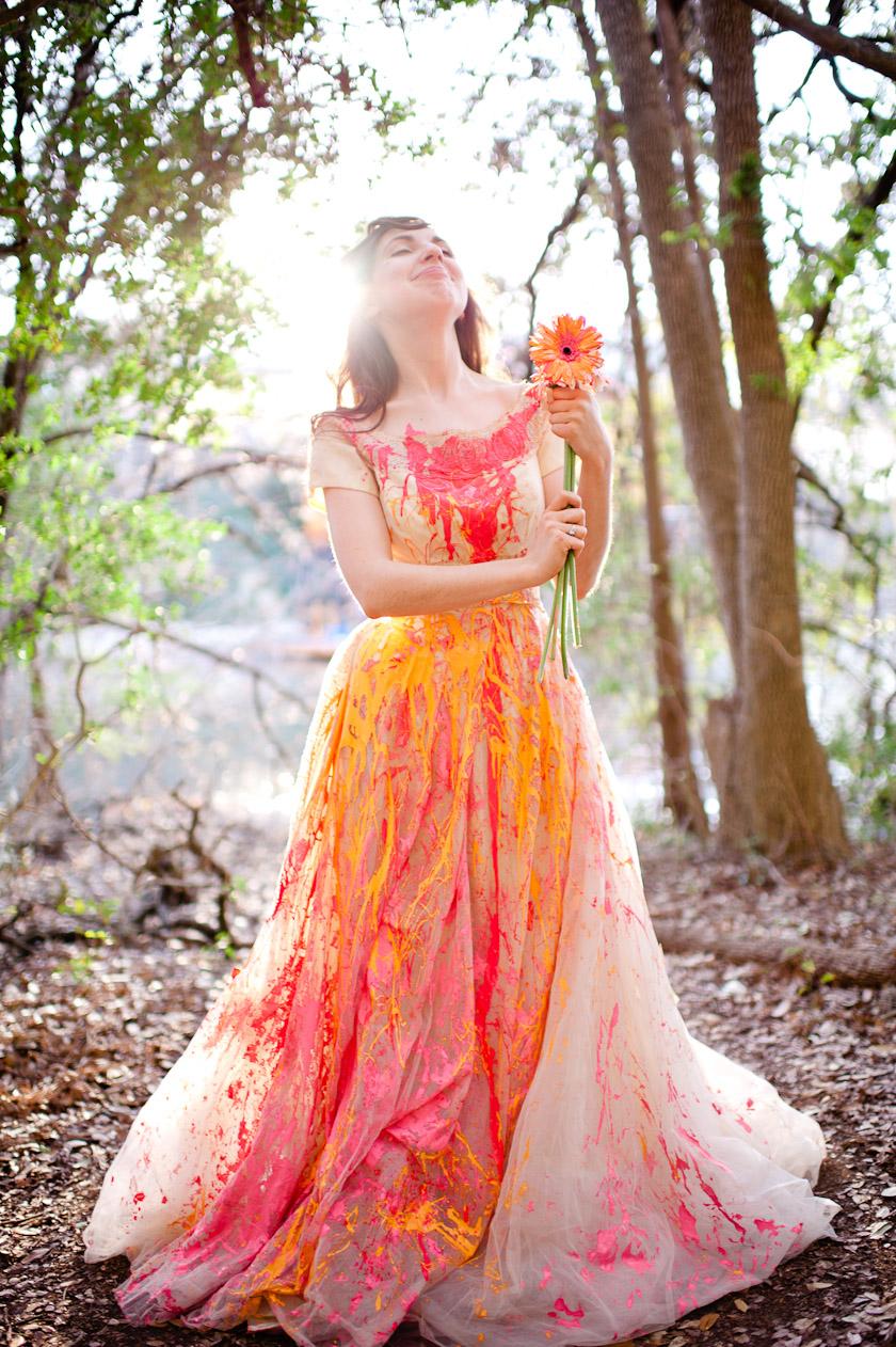 Austin Wedding Photographers Trash The Dress With Paint