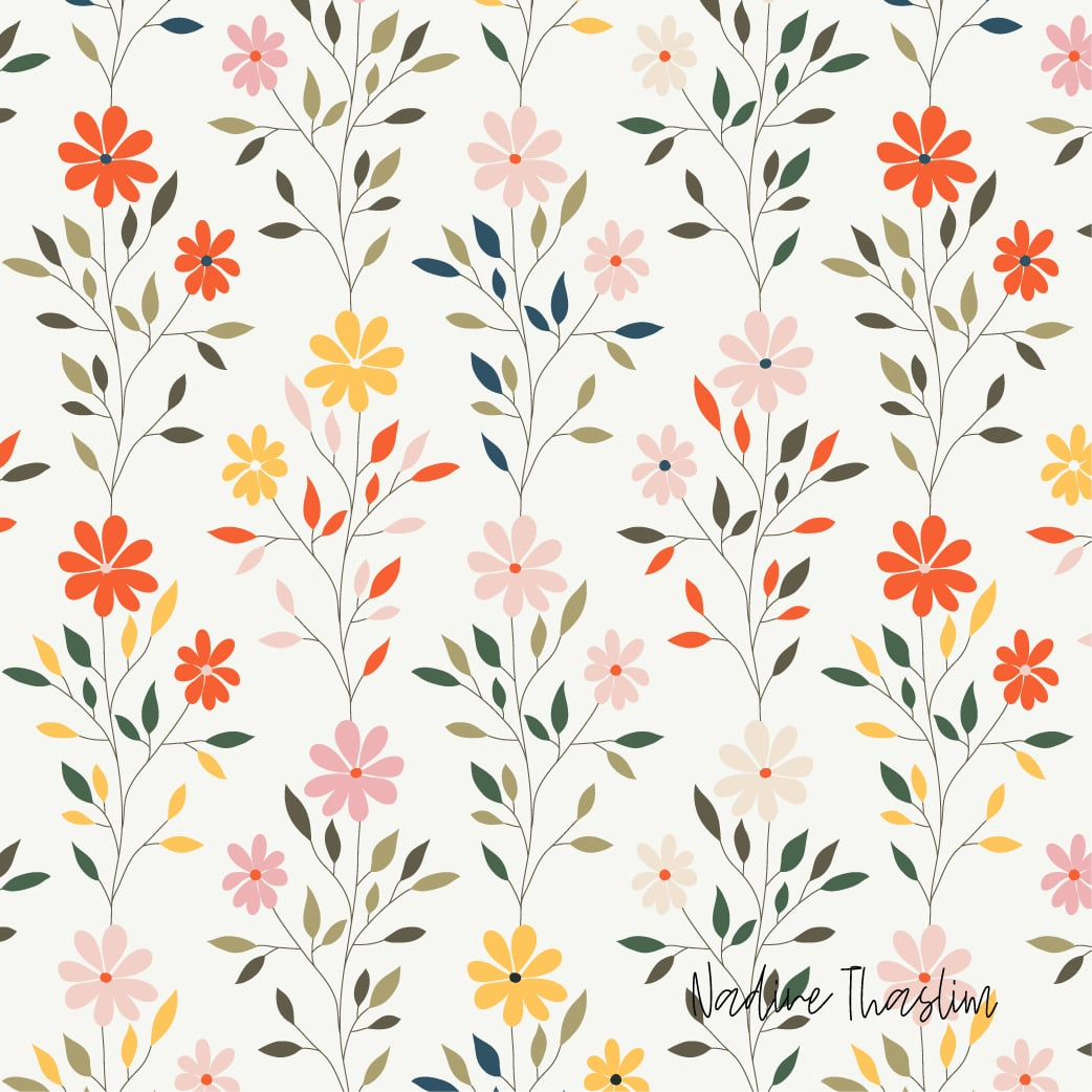 Colorful Delicate Flowers Pattern