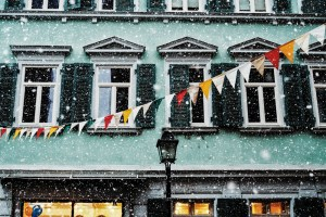 snow in Tübingen town, life is now