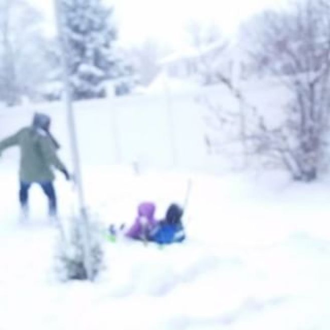 Snow Fall... #OmoWonderTwins #DaddyBrokeAHip #NotReally #DidntHurtButItWasFunny