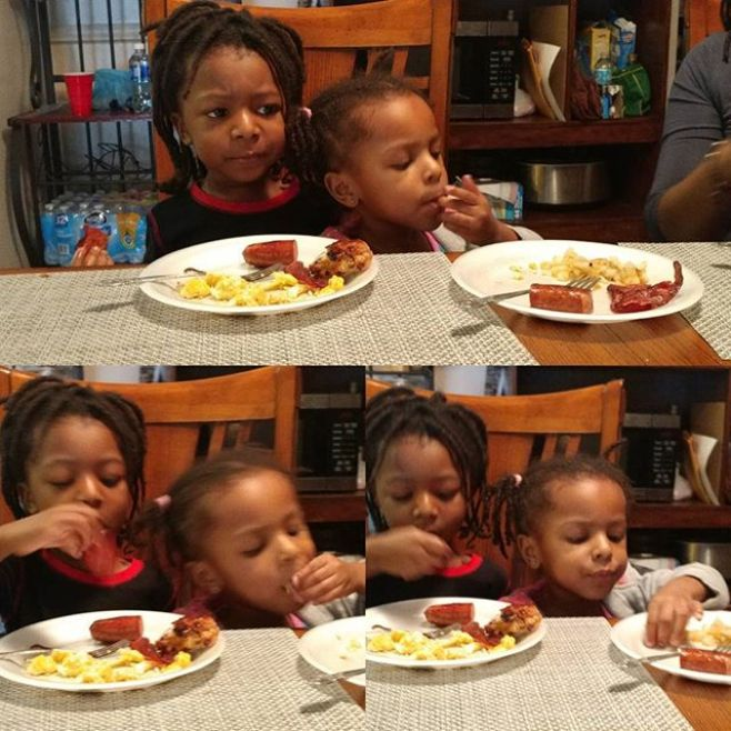 "Breakfast together or ""Why is this person in my seat?"" #OmoWonderTwins #LoveIsAHotBreakfastWithFamily"