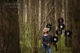 woman portrait in headphones outdoors