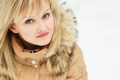 Young woman portrait in winter