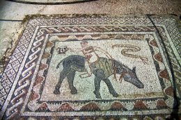 "Bodenmosaik im ""Haus des Dionysos"" in Volubilis."