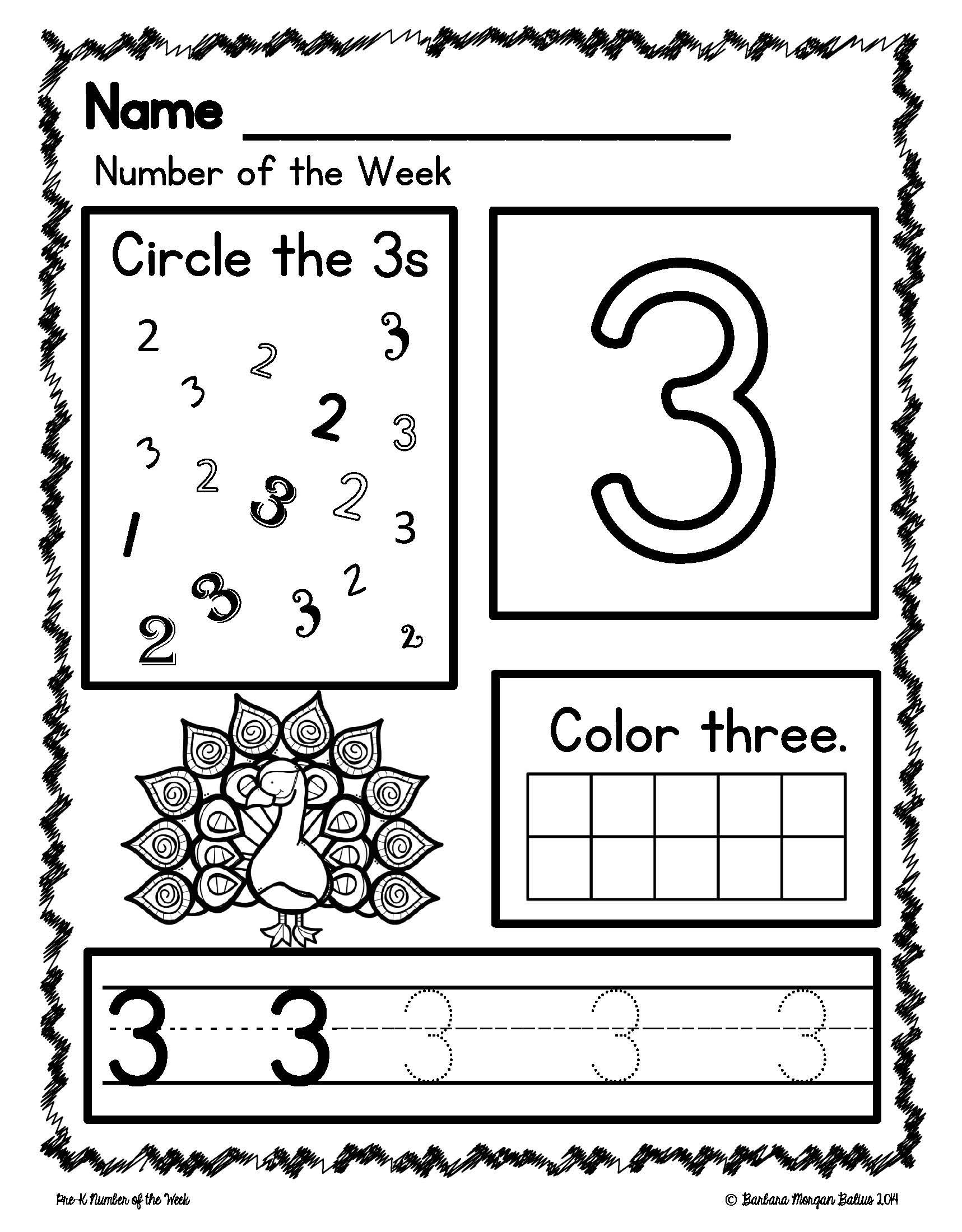 Number Sense Morning Work Pre Kindergarten Math Numbers 1