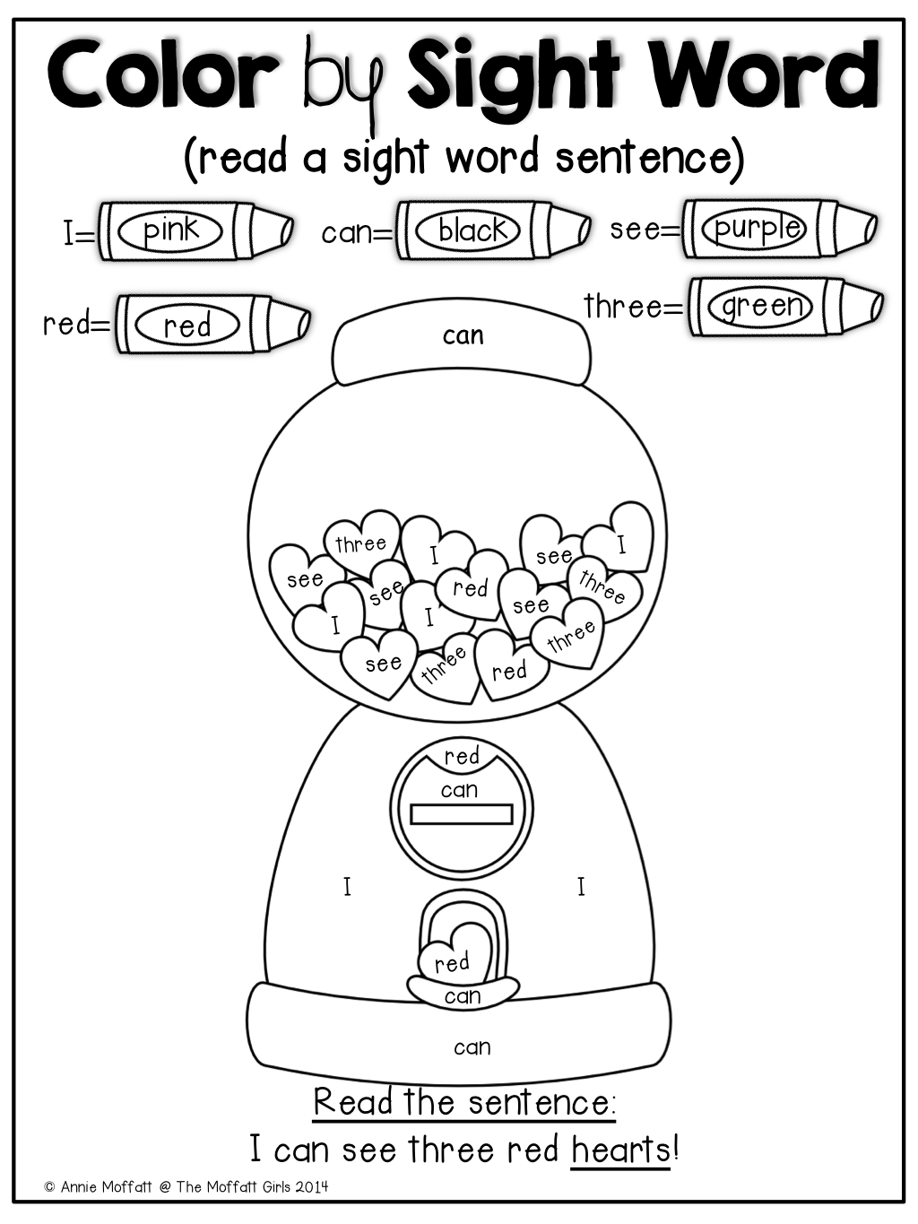 Free Color By Sight Word For Valentine S Day