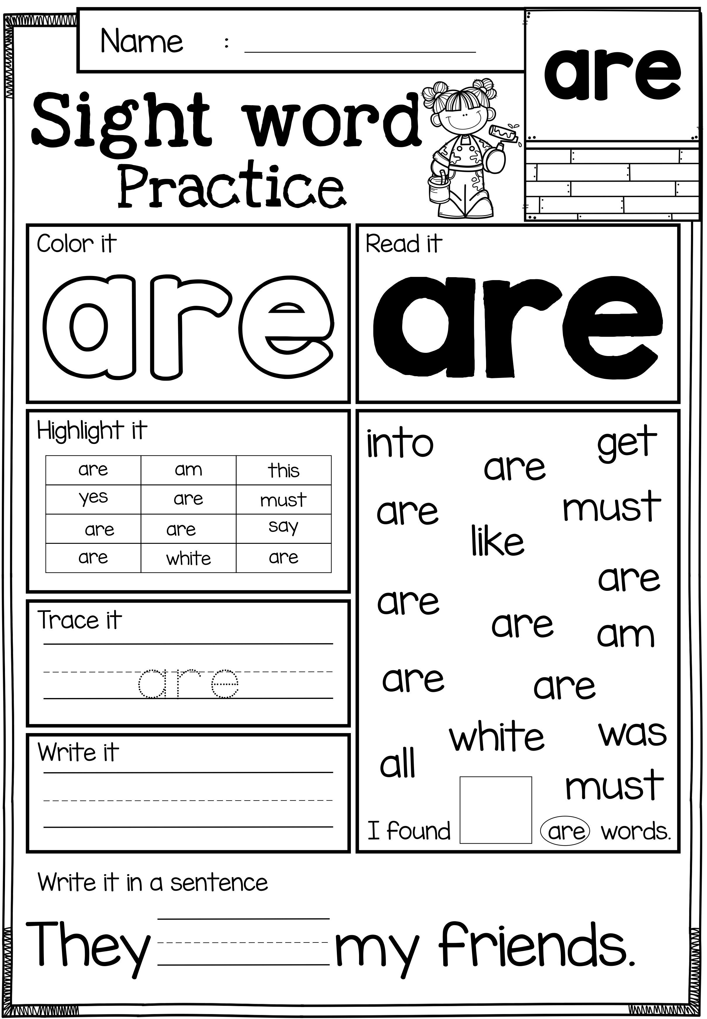 Free Sample Sight Word Activities 3 In 1