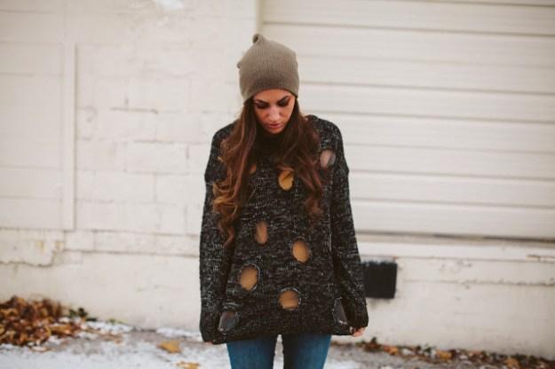diy knit sweater polka dots