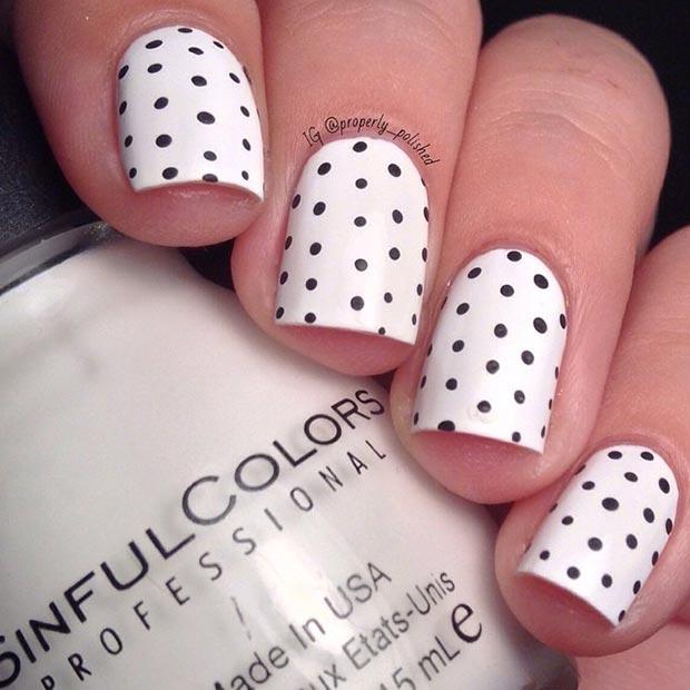 Black-and-White-Polka-Dot-Nail-Design