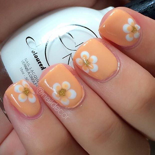 Orange-Flower-Nail-Design-for-Short-Nails