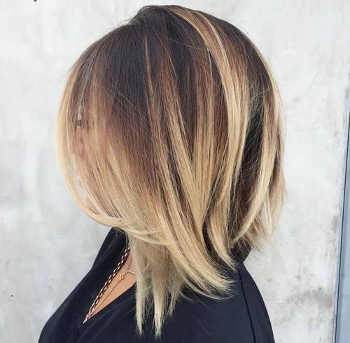 9-angled-dark-brown-lob-with-blonde-balayage