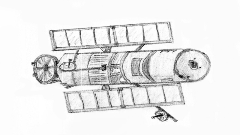 Sketch of the Hubble indicating about the parts of the telescope