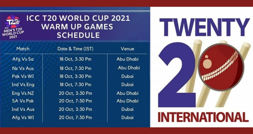 T20 World Cup Warm-up Matches 2021